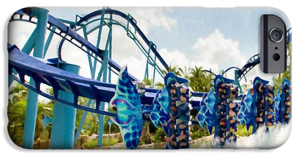 Carousel House Paintings iPhone Cases - Manta Dips a Wing at SeaWorld Orlando 1 iPhone Case by Lanjee Chee