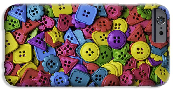 Disk iPhone Cases - Many colorful Buttons iPhone Case by Garry Gay