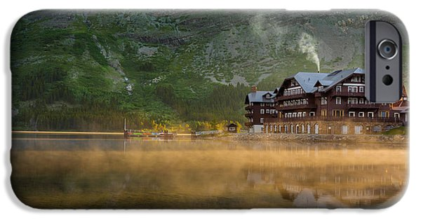 Fog Mist iPhone Cases - Many Glacier Hotel iPhone Case by Steve Gadomski