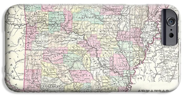 Arkansas Drawings iPhone Cases - Map of Arkansas iPhone Case by Joseph Hutchins Colton