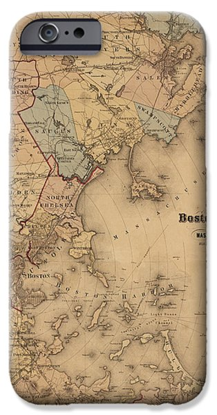 Map Of Boston iPhone Cases - Map of Boston Harbor 1861 iPhone Case by Andrew Fare