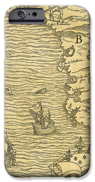 Pirate Ship Drawings iPhone Cases - Map of Brazilian coast iPhone Case by Giovanni Battista Ramusio
