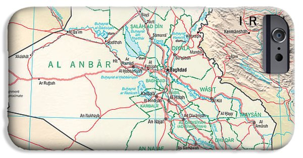 Baghdad iPhone Cases - Map of Iraq iPhone Case by Roy Pedersen