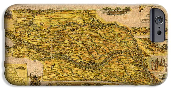 Nebraska iPhone Cases - Map of Nebraska 1954 Omaha Cornhusker State Aerial View Illustration Cartography on Worn Canvas iPhone Case by Design Turnpike