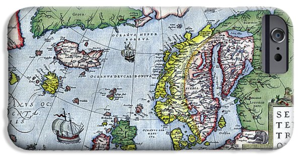 Norway Drawings iPhone Cases - Map of Northern Europe - Ortelius - 1570 iPhone Case by Pablo Romero