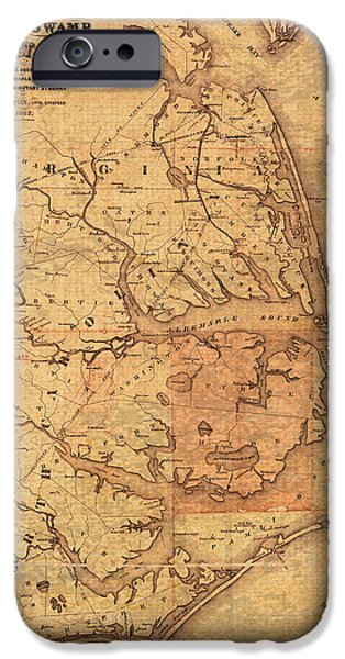 Sound Mixed Media iPhone Cases - Map of Outer Banks North Carolina Dismal Swamp Canal Currituck Albemarle Pamlico Sounds Circa 1867  iPhone Case by Design Turnpike