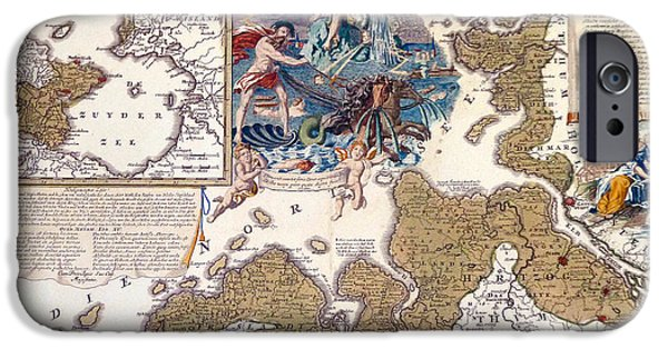 North Sea Drawings iPhone Cases - Map of the Christmas Flood of 1717 iPhone Case by Johann Baptista Homann
