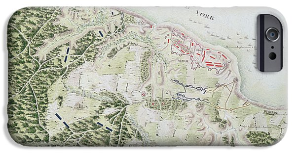 Yorktown Virginia iPhone Cases - Map of the Siege of York iPhone Case by F Dubourg