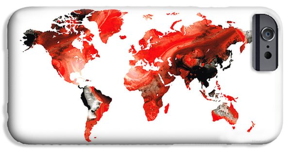 Vivid Mixed Media iPhone Cases - Map of The World 10 -Colorful Abstract Art iPhone Case by Sharon Cummings