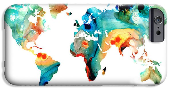 Europe Mixed Media iPhone Cases - Map of The World 11 -Colorful Abstract Art iPhone Case by Sharon Cummings