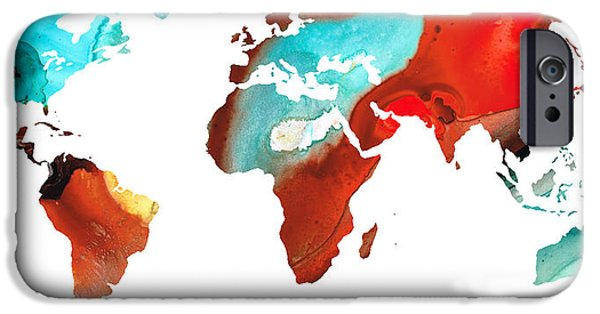 Europe Mixed Media iPhone Cases - Map of The World 4 -Colorful Abstract Art iPhone Case by Sharon Cummings