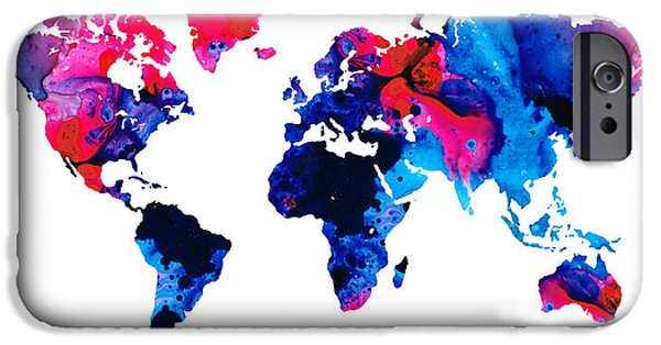 Europe Mixed Media iPhone Cases - Map of The World 9 -Colorful Abstract Art iPhone Case by Sharon Cummings