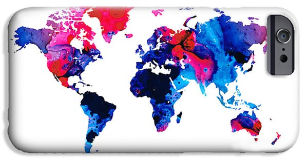 Vivid Mixed Media iPhone Cases - Map of The World 9 -Colorful Abstract Art iPhone Case by Sharon Cummings