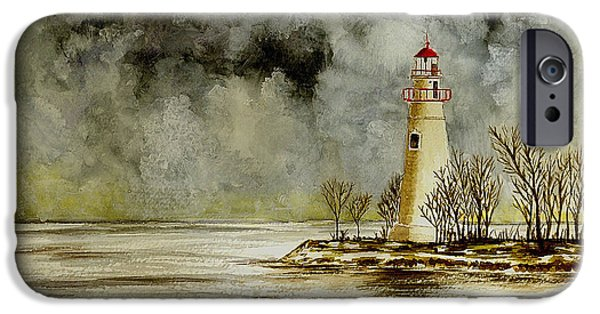 Lighthouse iPhone Cases - Marblehead Lighthouse in the Winter iPhone Case by Michael Vigliotti