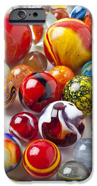 Amusements iPhone Cases - Marbles close up iPhone Case by Garry Gay