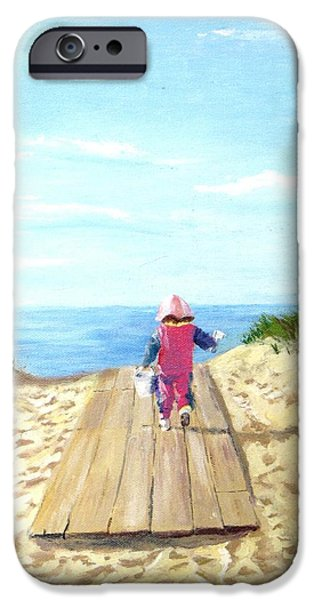 Jack Skinner Paintings iPhone Cases - March to the Beach iPhone Case by Jack Skinner