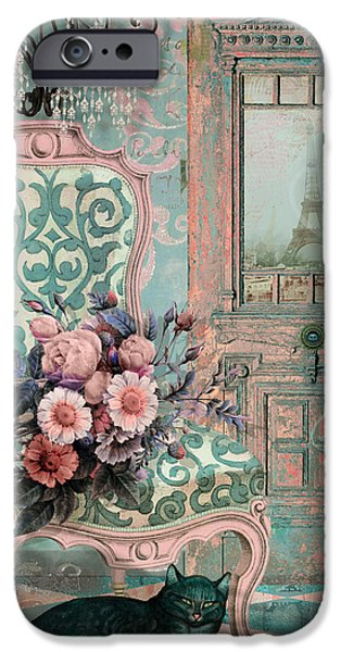 Interior Still Life iPhone Cases - Marcie in Paris iPhone Case by Mindy Sommers