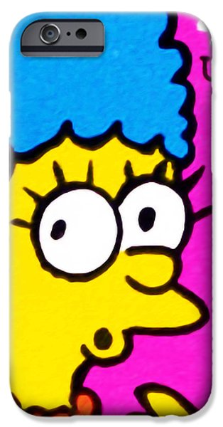 Canadian Culture Paintings iPhone Cases - Marge Simpson iPhone Case by Lanjee Chee