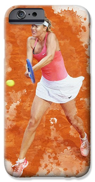 Wta Digital Art iPhone Cases - Maria Sharapova of Russia celebrates after winning iPhone Case by Don Kuing