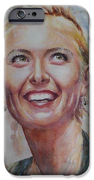 Maria Sharapova iPhone Cases - Maria Sharapova - Portrait 3 iPhone Case by Baresh Kebar - Kibar