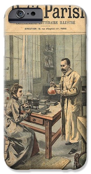 Torsion iPhone Cases - Marie And Pierre Curie In Laboratory iPhone Case by Science Source