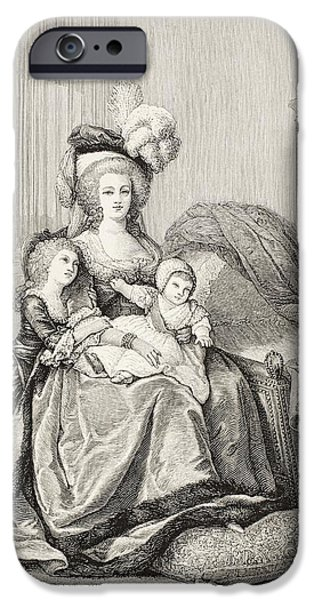 Charlotte Drawings iPhone Cases - Marie-antoinette And Her Children. From iPhone Case by Vintage Design Pics