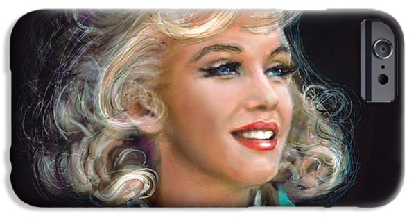 Recently Sold -  - Lips iPhone Cases - Marilyn blue  iPhone Case by Angie Braun