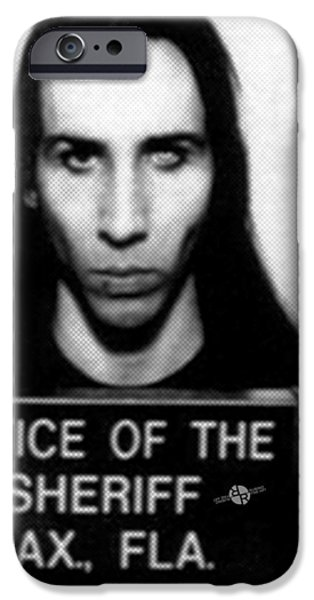 Police iPhone Cases - Marilyn Manson Mug Shot Vertical iPhone Case by Tony Rubino