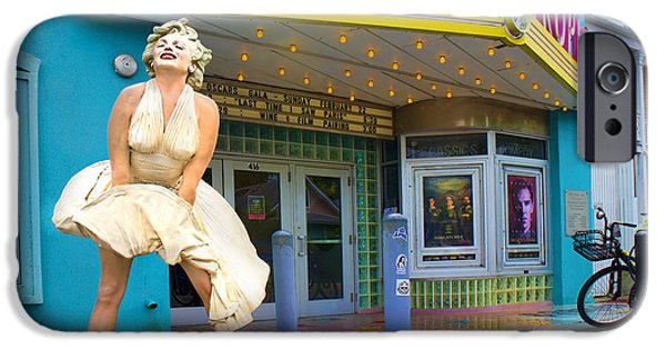 Celebrities Photographs iPhone Cases - Marilyn Monroe in front of Tropic Theatre in Key West iPhone Case by David Smith