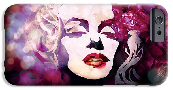 Abstract Fashion Designer Art iPhone Cases - Marilyn Monroe in purple colors iPhone Case by Irina Effa