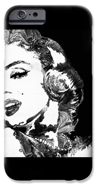 Lips iPhone Cases - Marilyn Monroe Painting - Bombshell Black And White - By Sharon Cummings iPhone Case by Sharon Cummings