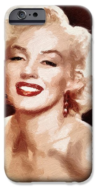 Red Abstract iPhone Cases - Marilyn Monroe Semi Abstract iPhone Case by Georgiana Romanovna