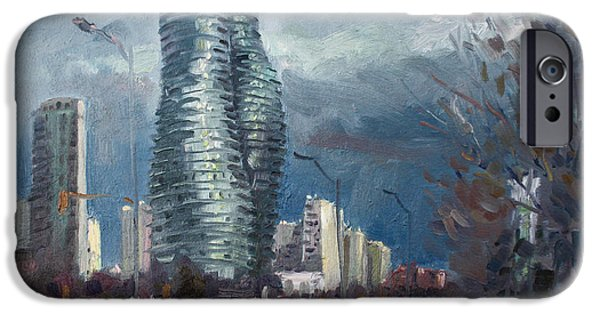 Toronto Paintings iPhone Cases - Marilyn Monroe Towers Mississauga iPhone Case by Ylli Haruni
