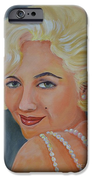 Mr. President iPhone Cases - Marilyn Monroe with Pearls iPhone Case by To-Tam Gerwe