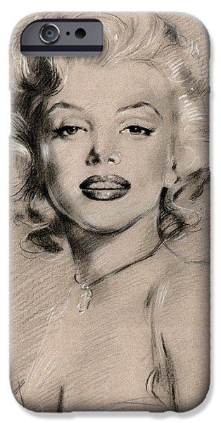 Marilyn Monroe iPhone Cases - Marilyn Monroe iPhone Case by Ylli Haruni