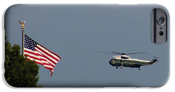Old Glory iPhone Cases - Marine One with U S Flag iPhone Case by Christopher Duncan