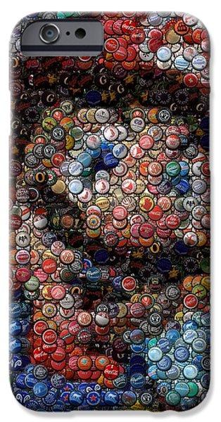 Mario Bottle Cap Mosaic iPhone Case by Paul Van Scott