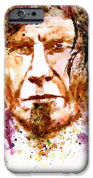 The Trees Mixed Media iPhone Cases - Mark Lanegan in watercolor iPhone Case by Marian Voicu