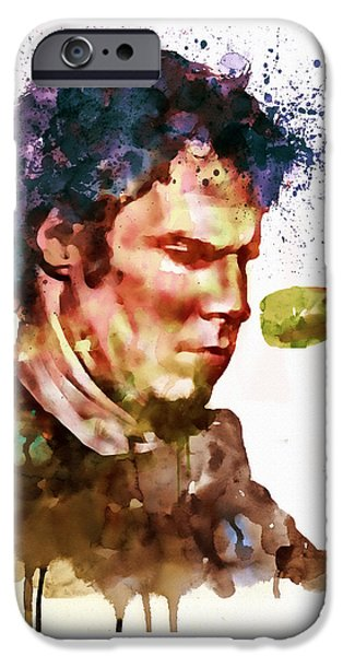 Marian iPhone Cases - Mark Lanegan watercolor iPhone Case by Marian Voicu