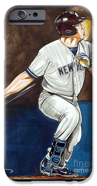 Mlb Drawings iPhone Cases - Mark Teixeira iPhone Case by Dave Olsen