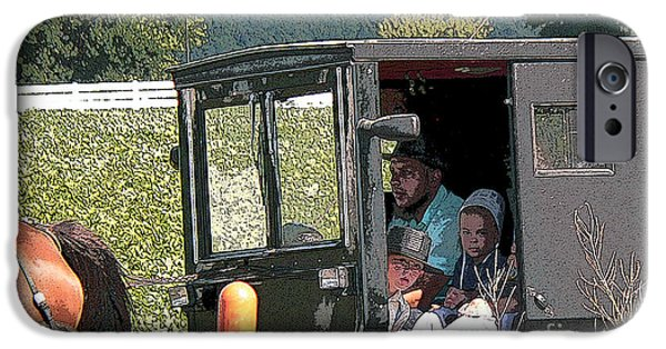 Amish Family iPhone Cases - Market Day iPhone Case by David Bearden