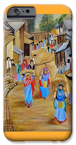 Basket iPhone Cases - Market Scene iPhone Case by Ajay Harit