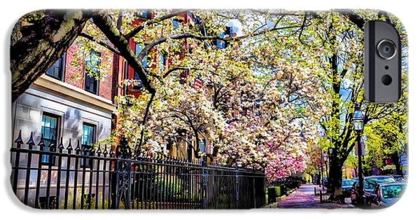 Boston Ma iPhone Cases - Marlborough Street in Bloom iPhone Case by Larry  Richardson