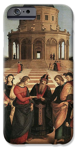 Raphael iPhone Cases - Marriage of the Virgin - 1504 iPhone Case by Raphael