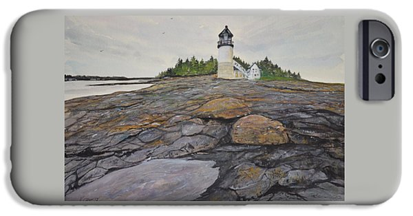 Mid-coast Maine iPhone Cases - Marshal Point Lighthouse iPhone Case by Kellie Chasse