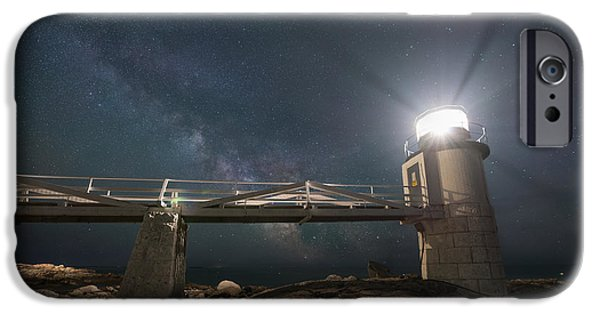 Maine iPhone Cases - Marshall Point Lighthouse Milky Way Rising iPhone Case by Michael Ver Sprill