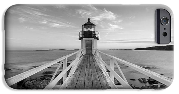 Michael iPhone Cases - Marshall Point Lighthouse Sunset BW iPhone Case by Michael Ver Sprill