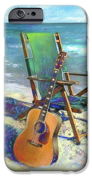 Tropical Paintings iPhone Cases - Martin Goes to the Beach iPhone Case by Andrew King