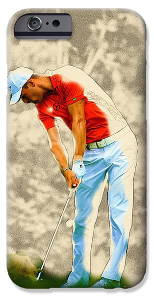 Michelle iPhone Cases - Martin Kaymer hits his tee shot on the 11th hole  iPhone Case by Don Kuing