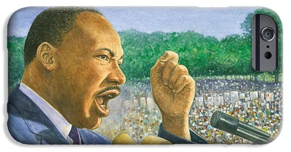 History Pastels iPhone Cases - Martin Luther King Jr. Speech iPhone Case by Robert Casilla